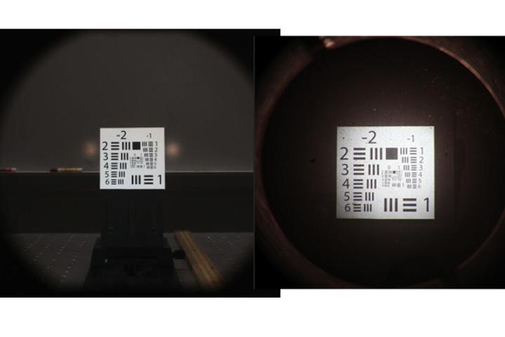 Links: normale Ansicht; rechts: 2,8-fache Vergrößerung durch die Kontaktlinse.