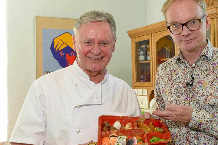 Koch Rainer Raßbach (68, l.) will künftig bei Uwe Steimle (54) japanische Menüs anbieten.