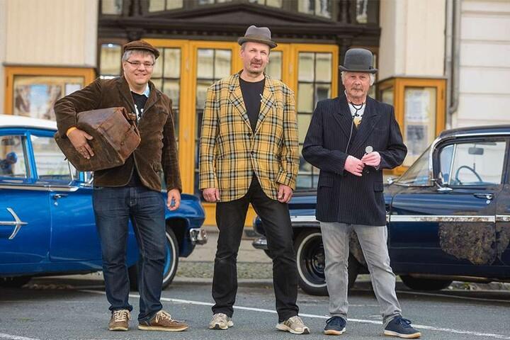 Die Olsenbanden-Fans Jan Lange (40), Jörg Rosemann (51) und Karl-Heinz Görges (59) erschienen entsprechend kostümiert.