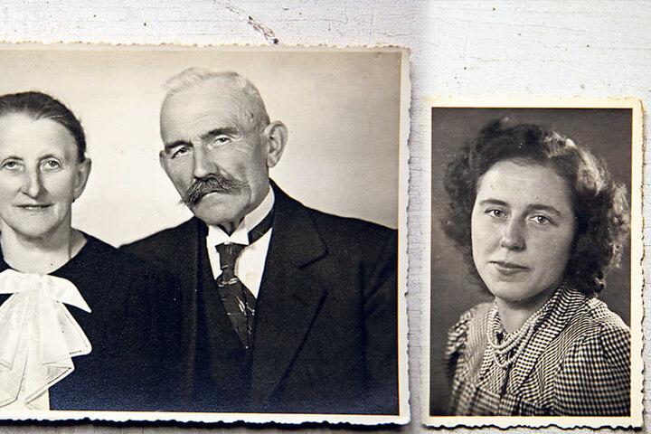 40 Jahre war Ernst Zickler (im Foto mit Frau) Bürgermeister, nach dem Krieg kamen alle Waffen zu ihm.  Charlotte Echterling (†100, re.) lebte fast ein Jahrhundert auf dem Hof.