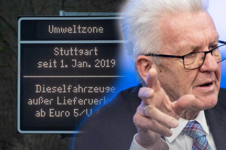 Seine Regierung hat das Diesel-Fahrverbot zu verantworten: Ministerpräsident Winfried Kretschmann (Grüne). (Fotomontage)
