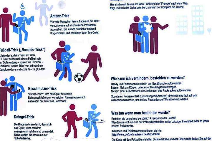 Der Flyer beschreibt mit anschaulichen Grafiken die Tricks der Antänzer.