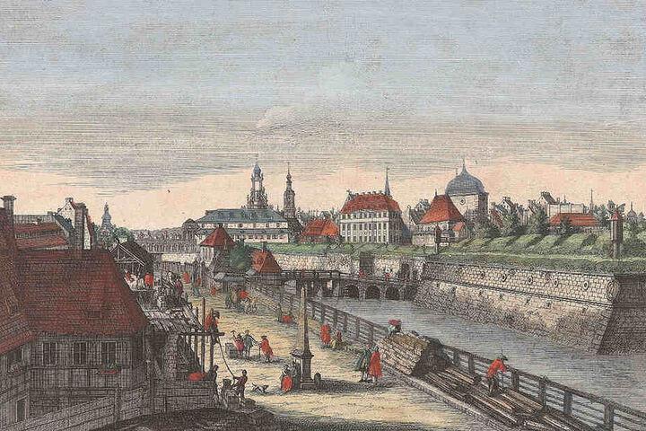So sah's vor 270 Jahren aus: Ansicht vom Wilsdruffer Tor um 1750 (heute Postplatz), einem der Haupttore der Dresdner Befestigungsanlage mit den Stadtmauern.