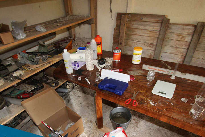 In diesem Raum experimentierte der junge Mann mit dem Sprengstoff.
