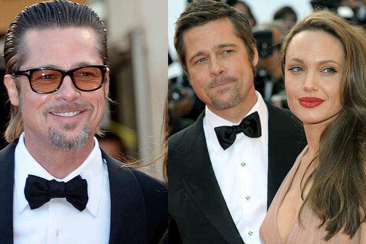Pitt im Jahr 2011 und mit Ex-Frau Angelina Jolie 2009 (rechts).