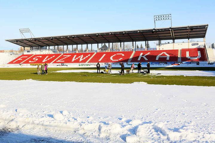 Das Zwickauer Stadion im Schnee. Solche Bedingungen könnten im Januar auf die FSV-Profis warten.