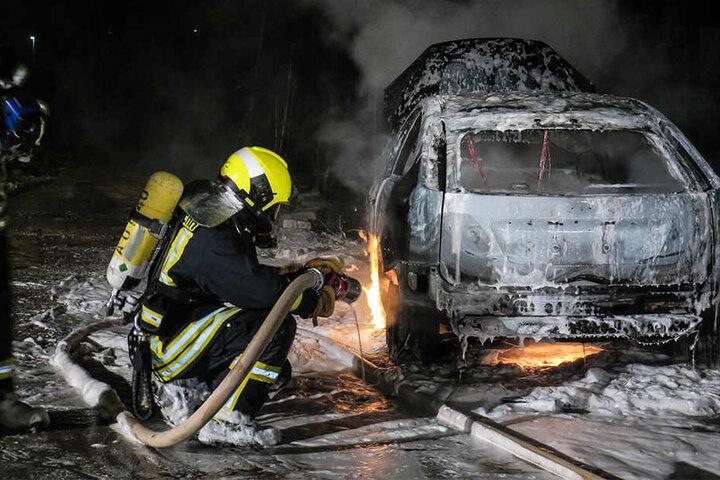 Der Renault brannte komplett aus.