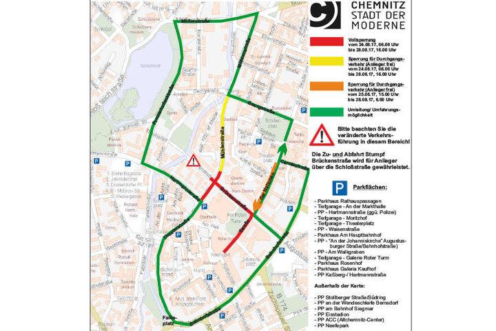 Übersichtsplan über die Parkmöglichkeiten zum Stadtfest Chemnitz.
