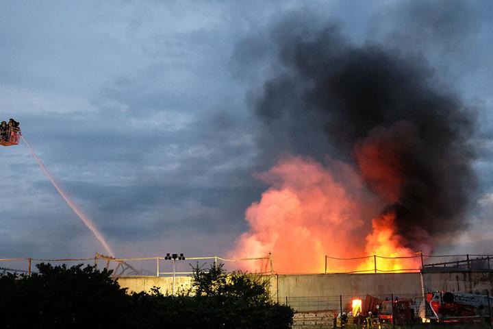 Am Dienstag ließ die Feuerwehr ein Gebäude auf dem Chemiepark in Bitterfeld kontrolliert abbrennen.