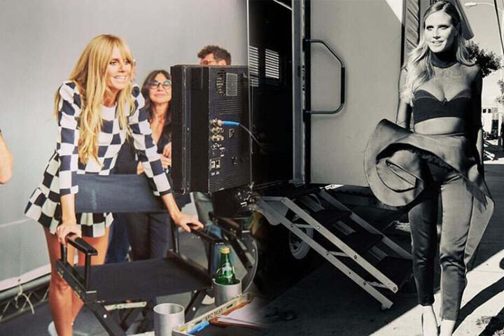 Heidi Klum bei den Dreharbeiten zur neuen GNTM Staffel (links).