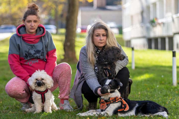 In Sorge um ihre Tiere: Bijanca Hinzmann (26) mit Hund Balu sowie Petra Hackstein (49) mit Odin und Luna.