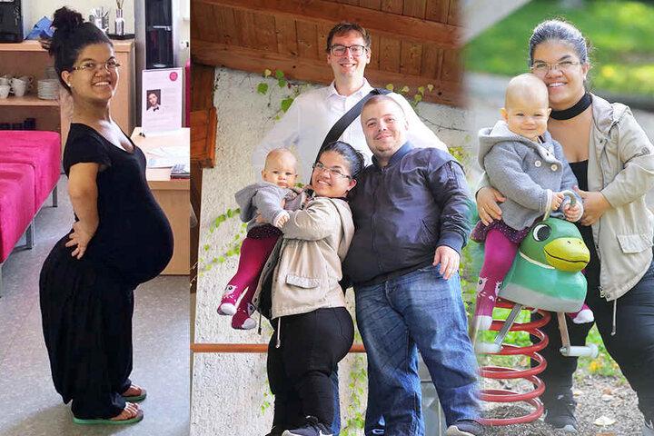 Carmen während der Schwangerschaft (links), die Familie mit TAG24-Redakteur Hermann Tydecks (Mitte) und Carmen mit ihrer Maya auf dem Spielplatz (re.).