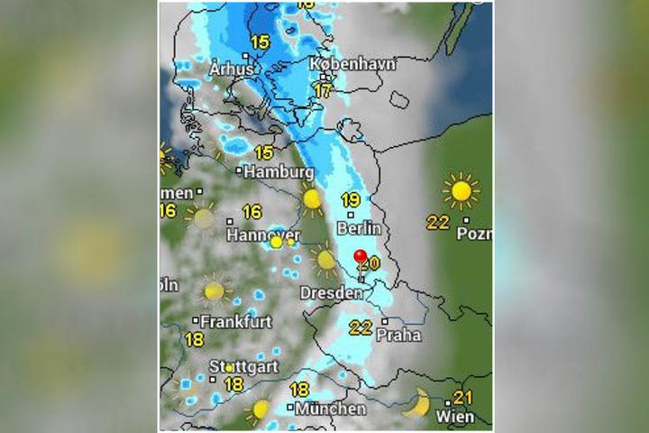 Wie man auf der Karte von WetterOnline sehen kann, zieht am Freitag von Westen her ein Unwetter auf.