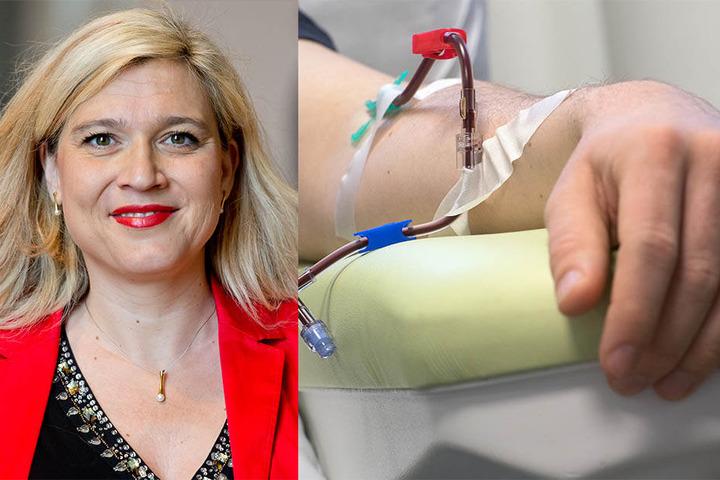 Gesundheitsministerin Melanie Huml (CSU) wirbt für die Stammzellspende (re.).