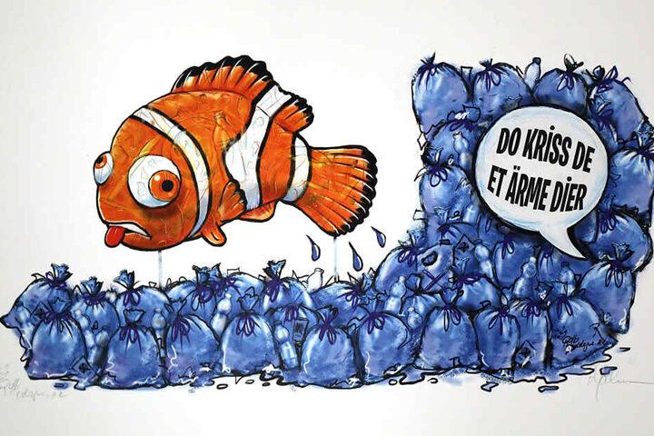"""Die Reproduktion einer Zeichnung des Kölner Karikaturisten Rollo zeigt den an den Zeichentrick-Film """"Findet Nemo"""" angelehnten Entwurf für einen Motivwagen zum Thema Plastikmüll im Meer."""