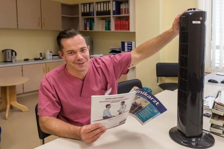 Anästesist Andre Eichelkraut (40) ist glücklich über seinen Ventilator.
