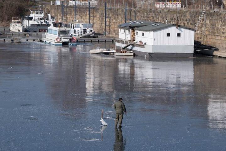 Ein Eisangler wagt sich an einem Elb-Hafen aufs Eis.