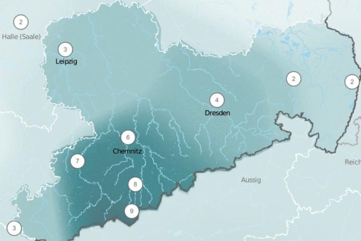 Bis zu neun Liter pro Quadratmeter kassiert Sachsen am Samstag vom Wettergott.