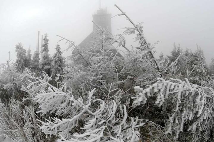 Schnee auf dem Fichtelberg in Sachsen.