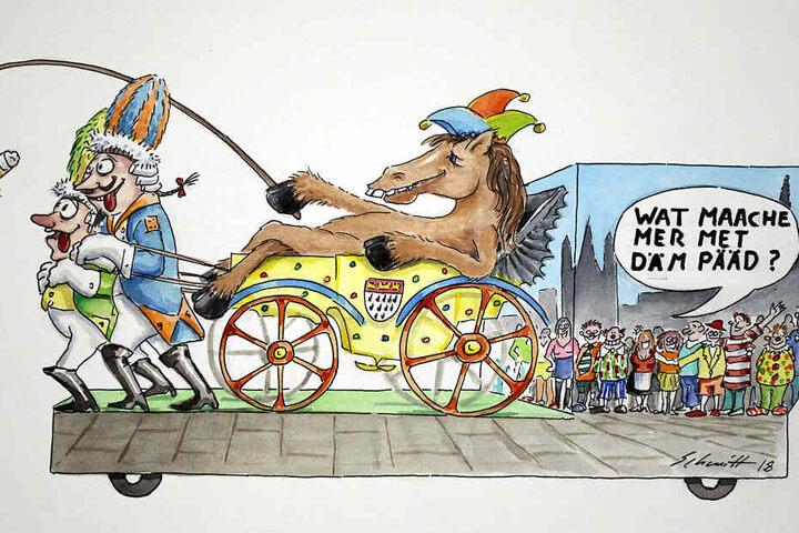 Die Reproduktion einer Zeichnung von Dirk Schmitt zeigt einen Entwurf für einen Motivwagen zum Thema Pferdeunfall im Rosenmontagsumzug.