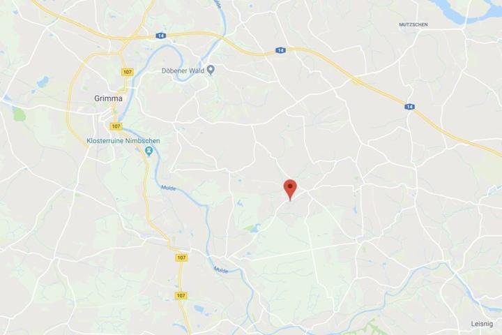 Die Einsatzstelle befindet sich zwischen Kössern und Keiselwitz südöstlich von Grimma.