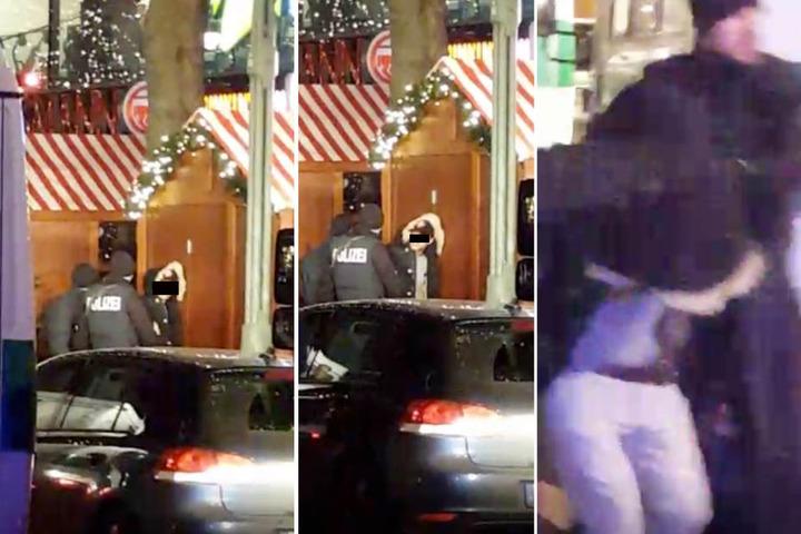 Die Polizei nahm diesen Mann am Breitscheidplatz fest. Ein Periscope-Nutzer filmte die Festnahme. Wer der Verdächtige ist, blieb unklar.
