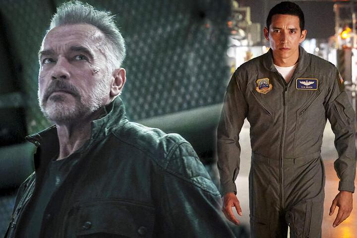 Der neue Terminator (r., Gabriel Luna) ist nicht tot zu kriegen! Muss der alte T-800 (Arnold Schwarzenegger) etwa wieder eingreifen? (Bildmontage)