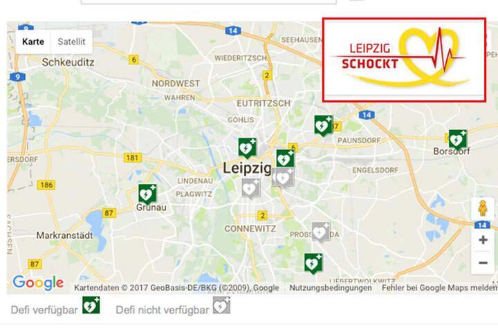 Auf der Karte werden die Standorte der Defibrillatoren angezeigt.