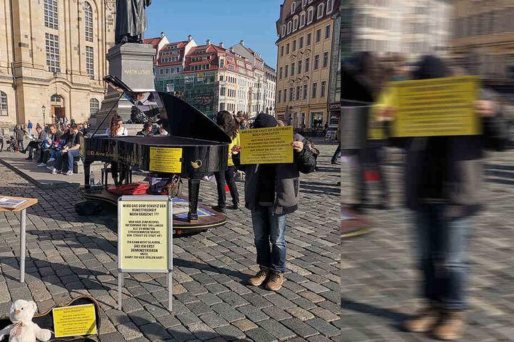 Mitte Februar demonstrierten Arne Schmitt und einige Mitstreiter gemeinsam vor der Frauenkirche.