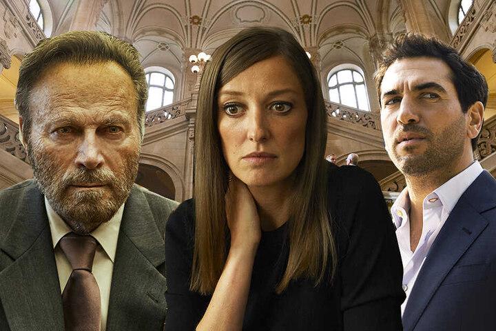 Ihre Schicksale sind eng miteinander verwoben: Caspar Leinen (r., Elyas M'Barek), Johanna Meyer (M., Alexandra Maria Lara) und Fabrizio Collini (Franco Nero). (Bildmontage)