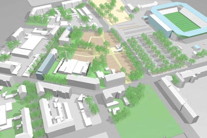 Offen und grün: So soll das neue Antlitz des Karrees 72 auf dem Sonnenberg  aussehen.