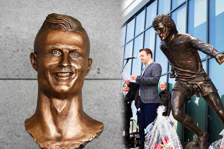 """""""Noch schlechter als Ronaldos"""" Büste nennen Fans die George-Best-Statue. (Bildmontage)"""