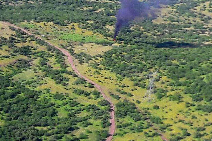 Der Hubschrauber ging nach dem Abschuss in Flammen auf.