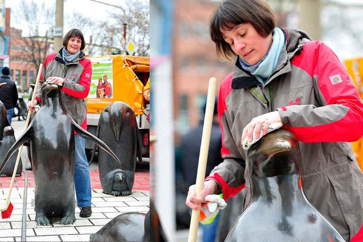 Tierparkdirektorin Dr. Anja Dube (47) putzt einen der Pinguine an der  Theaterstraße. Am Sonnabend startet der Frühjahrsputz im Tierpark.