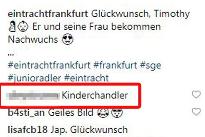 Der Screenshot zeigt den mehr als unangebrachten Kommentar eines Users auf dem Profil von Eintracht Frankfurt.