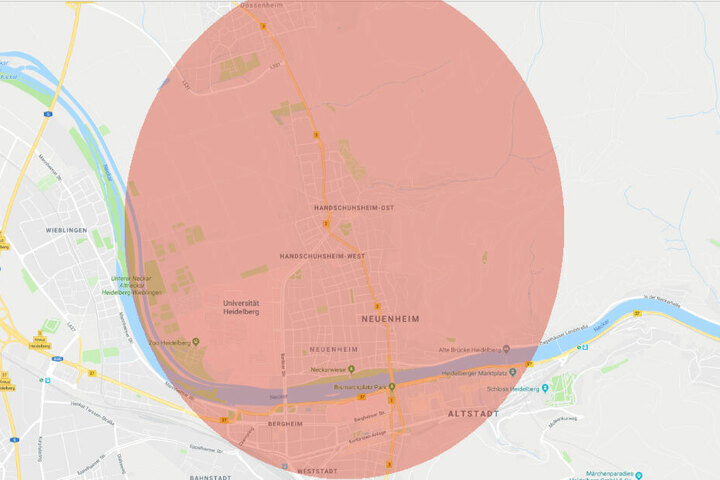 Betroffen sind die Gebiete: Dossenheim, Neuenheim, Handschuhsheim, Bergheim und die Altstadt.