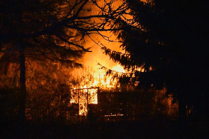 Meterhohe Flammen verschluckten die beiden Gartenlauben in Neuruppin.