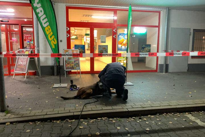 Die Polizei fahndete mit einem Spürhund nach dem Täter, bisher jedoch ohne Erfolg.
