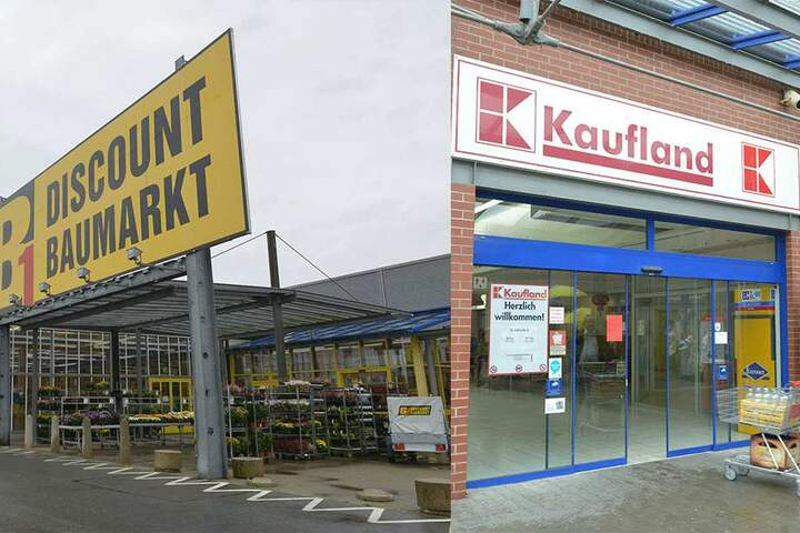 Links: Umzug geplant: Der Discount-Baumarkt B1 der Rewe-Gruppe schließt seine  Pforten in Crimmitschau und wechselt in das benachbarte Glauchau. Rechts: Die Supermarktkette Kaufland wird sich schon zum 8. November aus dem  Crimmitschaucenter zurückziehen.