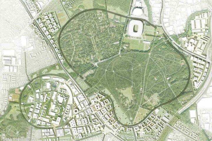 Übersicht des Bebauungsplans: Das Konzept der Science City Bahrenfeld gilt mit seinem Zukunftsbild 2040 als Auftakt einer Integration von Forschung, Wissenschaft und Lehre in die neuen und die bestehenden Stadtteilstrukturen Bahrenfelds.