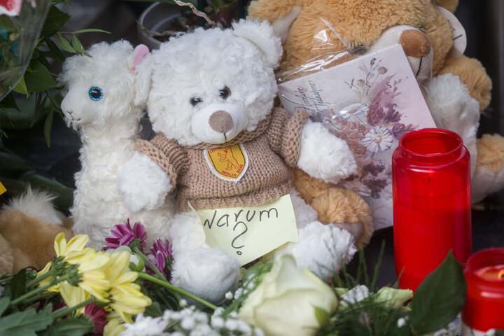 Kuscheltiere erinnern am Unglücksort - dem Gleis 7 des Frankfurter Hauptbahnhofs - an den verstorbenen Jungen.