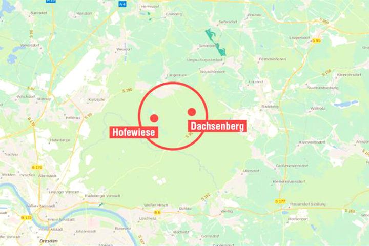 Zwischen Hofewiese (roter Kreis links) und Dachsenberg (Kreis rechts) liegt der Schwerpunkt der Wolfsnachweise.