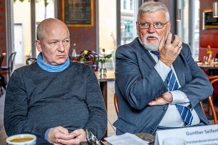 """Warnen vor negativen Folgen für Pieschen: Jürgen Wolf vom Citymanagement und """"Konsum""""-Vorstand Gunther Seifert (v.l.)."""