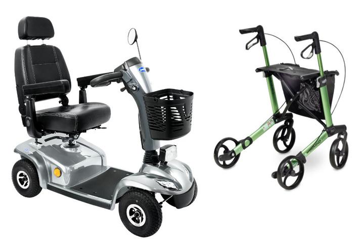 Das Elektromobil Invacare Leo und der Rollator GEMINO 30 sind zwei treue Begleiter im Alltag.
