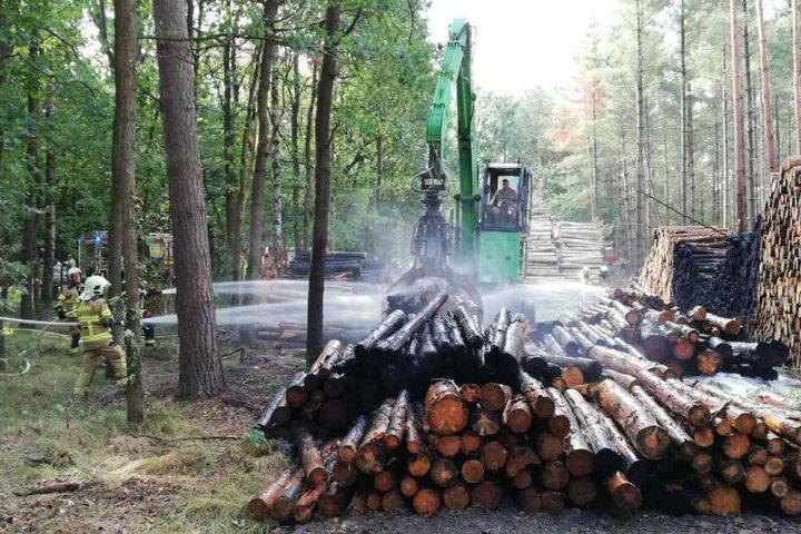 Stand 10 Uhr: Der Holzstapel wurde auseinander gezogen und gelöscht.