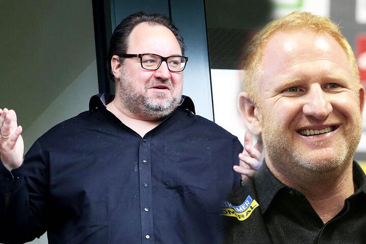 Dank des Geldes von Investor Mikhail Ponomarev (l.) konnte sich KFC-Trainer Heiko Vogel (l.) über zehn Neuzugänge freuen. (Bildmontage)