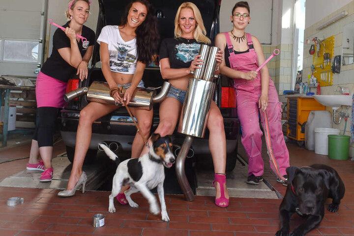 Tierschützerin Christiane Schleicher (27, mit Hund) und ihre  Unterstützerinnen: Model Jana Scholz (30, mit Auspuff), Werkstatt-Chefin Carolin  Gahse (23, r.) und Mitarbeiterin Lydia Gahse (35, l.).