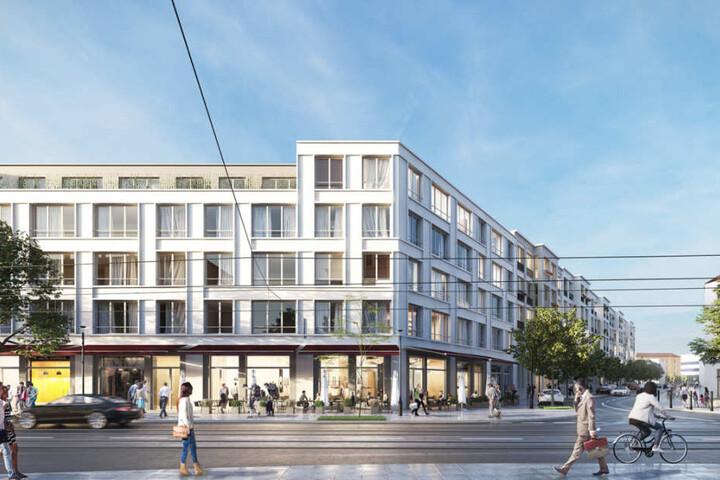 Straßenblick: So soll eines der Gebäude aussehen.