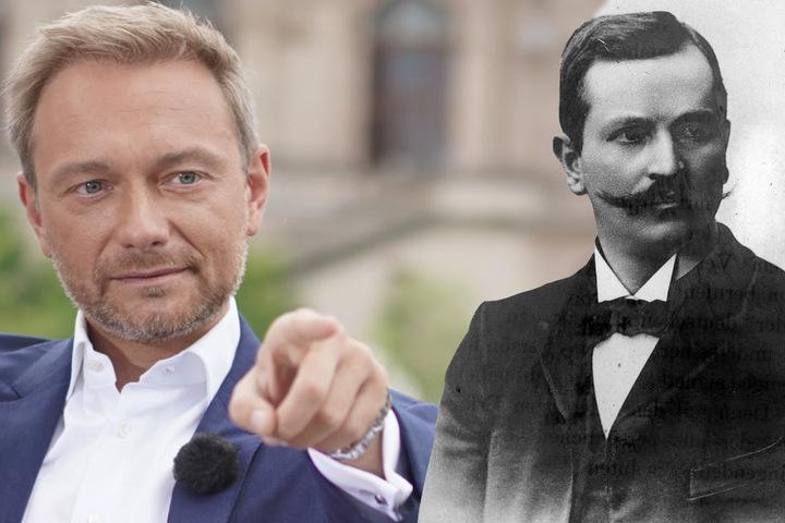 FDP-Chef Christian Lindner (39) hätte vergeblich auf Physiker Paul Drude (1863-1906) gewartet. (Bildmontage)