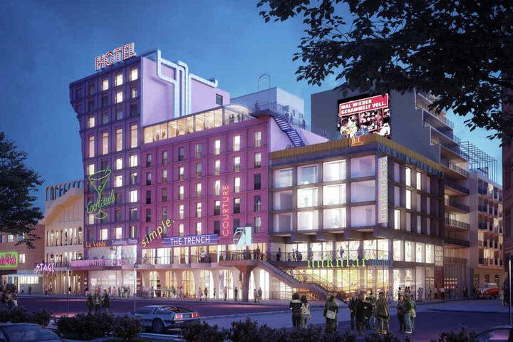 Die Visualisierung zeigt die geplante Bebauung des ehemalige Esso-Häuser-Areals und des künftigen Paloma-Viertels.
